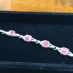 Sterling silver with Coral stones bracelet